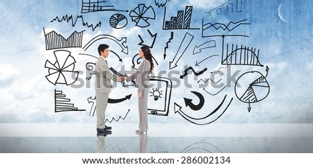 Business people shaking hands against painted blue sky - stock photo
