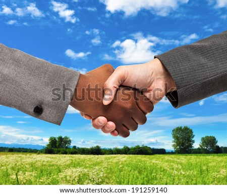 Business people shaking hands in front of a grass field - stock photo