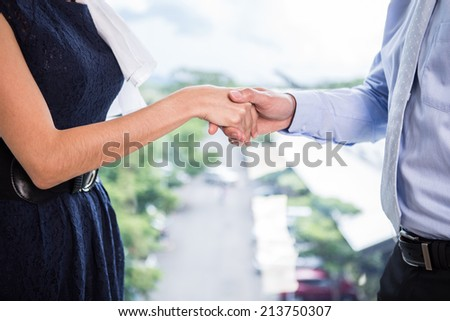 Business people shaking hands in the office