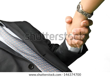 business people shaking hands, isolated on white - stock photo