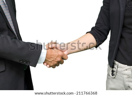 business people shaking hands, isolated on white background - stock photo