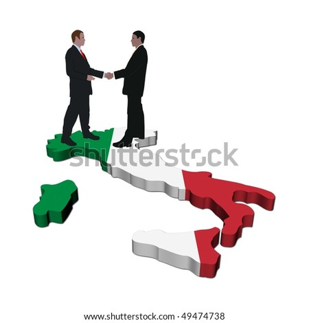 Business people shaking hands on Italy map flag illustration