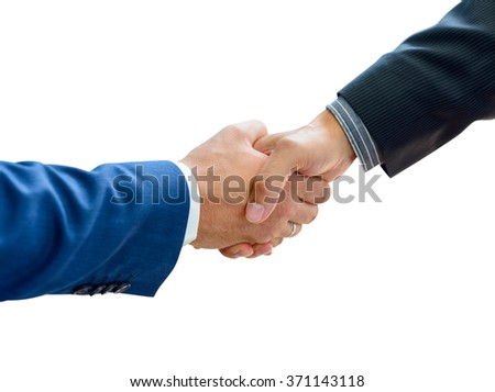 Business People Shaking Hands on the White Background Close-up. Business Partnership Concept - stock photo
