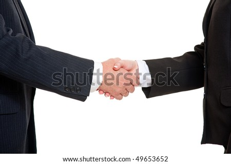 business people shaking hands over white background