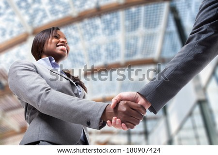 Business people shaking their hands to seal a deal - stock photo