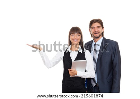 Business people show open palm side empty copy space, businesswomen businessmen happy smile standing advertisement product isolated over white background - stock photo