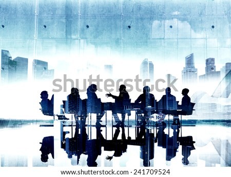 Business People Silhouette Conference Brainstorming Teamwork Connection Concepts - stock photo