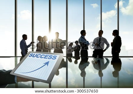 Business People Silhouette Conference Brainstorming Teamwork Success Concepts - stock photo
