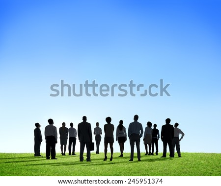 Business People Silhouette Outdoors The Way Forward Vision - stock photo