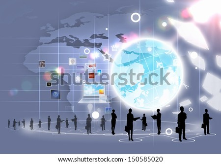 Business people silhouettes against grey media background with icons