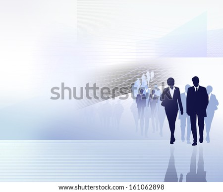business people silhouettes on futuristic background
