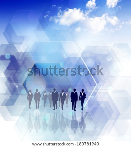 business people silhouettes on futuristic background - stock photo