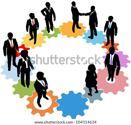 Business people silhouettes team standing on a circle of IT gears - stock photo