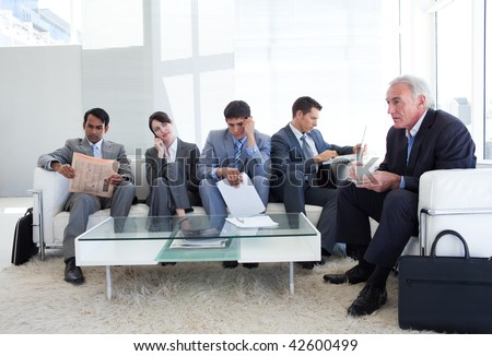 Business people sitting and waiting for a job interview. Business concept. - stock photo
