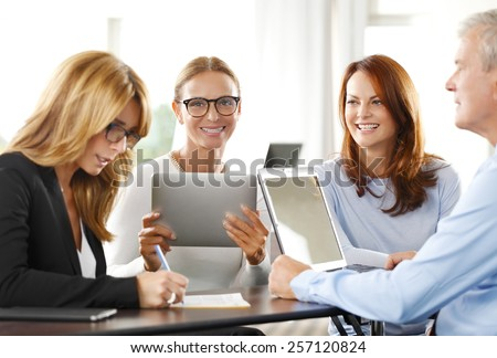 Business people sitting at business seminar. Teamwork.  - stock photo