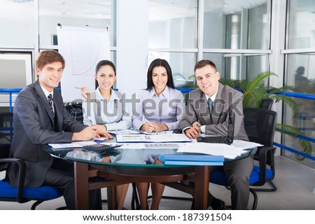 business people sitting at desk in office, businessmen smile,  group businesspeople team meeting communicate