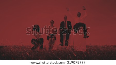 Business People Sitting Growth Success Winner Concept