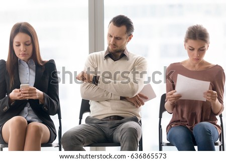 Business people sitting in row  tedious waiting for long time  meeting  start delay. Annoyed Stock Images  Royalty Free Images   Vectors   Shutterstock