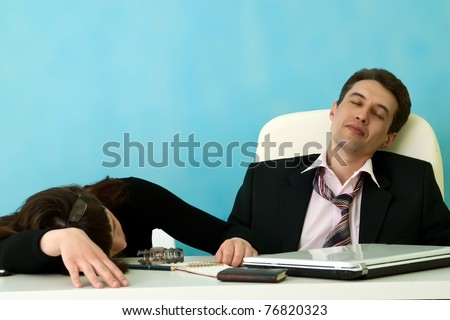 Business people sleep in office
