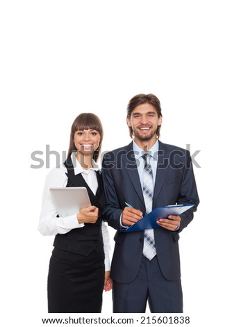 Business people smile, hold folder and tablet, businessman and businesswoman wear formal suit, businesspeople isolated over white background - stock photo