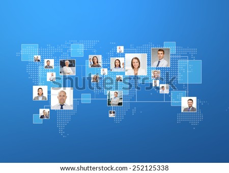 business, people, social network and head hunting concept - pictures of businesspeople over world map and blue background - stock photo