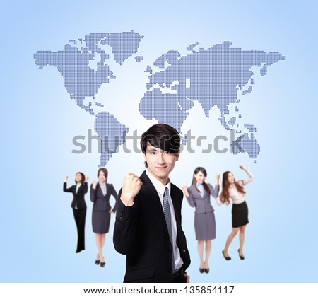 Business people stand confidently with global map, they make a fist, asian group