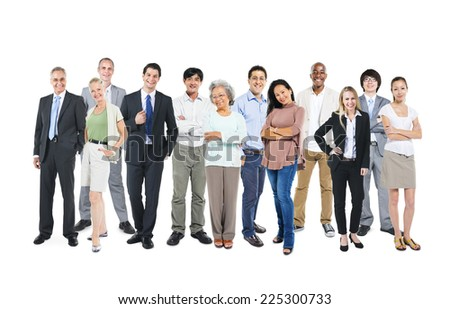 Business people standing and happy