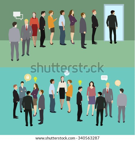 Business people standing in a line. Flat illustration