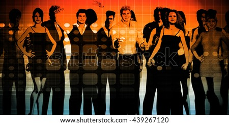 Business People Standing in a Row Art 3D Illustration Render - stock photo