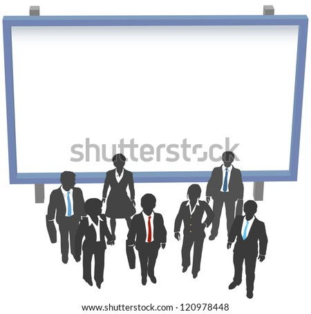 Business people standing in front of and under billboard advertising sign copy space - stock photo