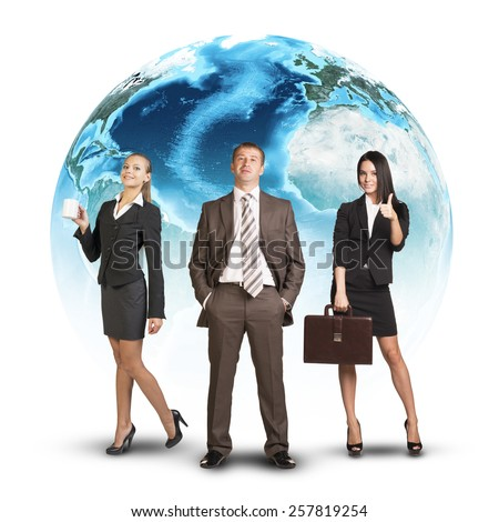 Business people standing in front of Earth. Isolated on white background. Elements of this image furnished by NASA - stock photo