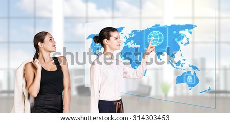 business people standing in modern office and looking to global business map. Elements of this image furnished by NASA