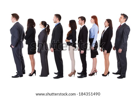 Business people standing in queue over white background - stock photo