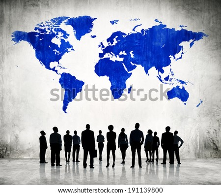 Business People Standing Individually And A Blue Cartography Of The World Above.