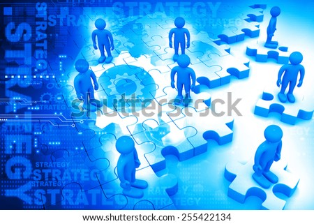 Business people standing on puzzles, business strategy concept  - stock photo