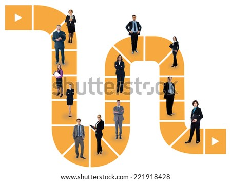 Business people standing on vector line design - stock photo
