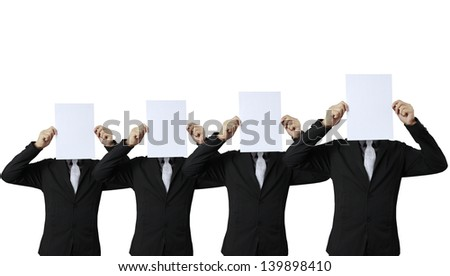 Business people standing with on boards