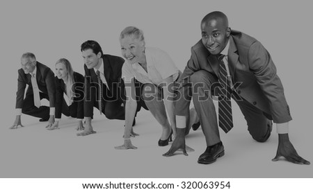 Business People Start up Competition Running Beginning Concept - stock photo
