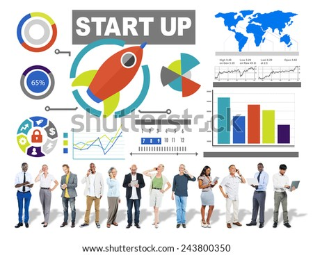 Business People Start up Digital Communication Technology Concept - stock photo