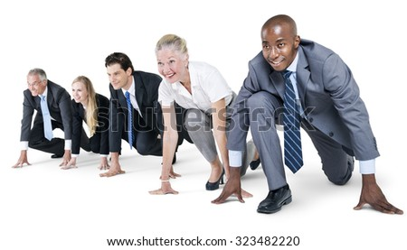 Business People Startup Competition Running Beginning Concept - stock photo