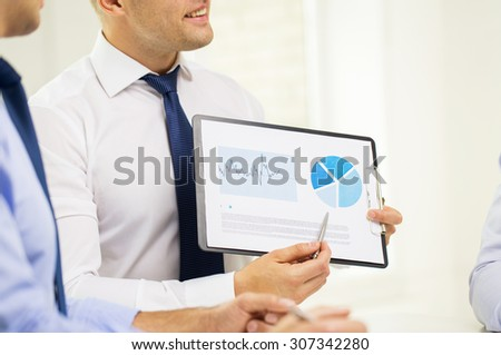 business, people, statistics and teamwork concept - close up of businessman hands with clipboard pointing pen to chart at office - stock photo