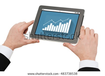 business, people, statistics and technology concept - close up of man hands holding tablet pc computer with graph on screen