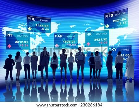 Business People Stock Exchange Finance Concept - stock photo