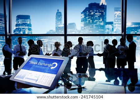 Business People Stock Exchange Finance Meeting Communication Concept - stock photo