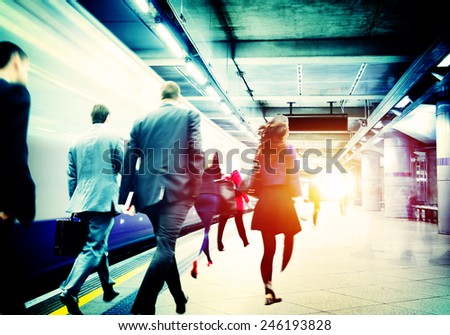 Business People Subway Station Commuter Travel Concept - stock photo