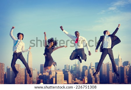 Business People Success Achievement City Concept - stock photo