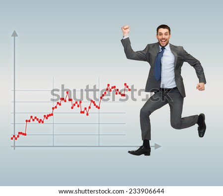 business, people, success and finances concept - happy young businessman running over gray background and forex graph going up - stock photo