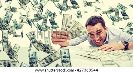 business, people, success and fortune concept - happy businessman with heap of dollar money - stock photo
