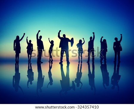 Business People  Successful Celebrating Winning Concept - stock photo