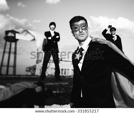 Business People Superhero Inspirations Confidence Team Work Concept